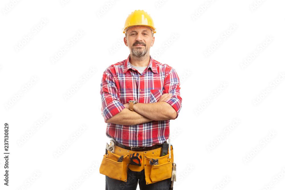 Fototapeta Builder portrait with proud expression.