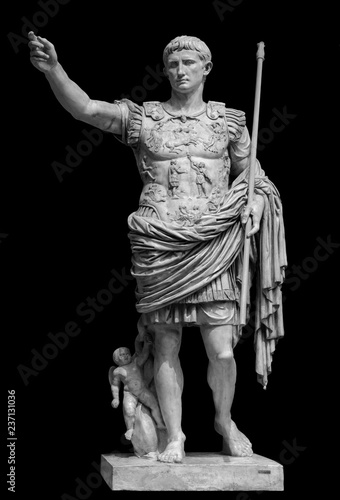 Fotografie, Obraz Roman emperor Augustus from Prima Porto statue isolated over black background