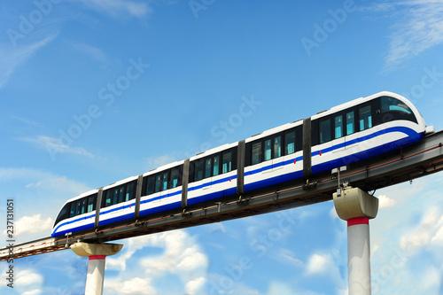 Monorail train on girder