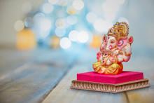 Lord Ganesha With Blurred Bokeh Background