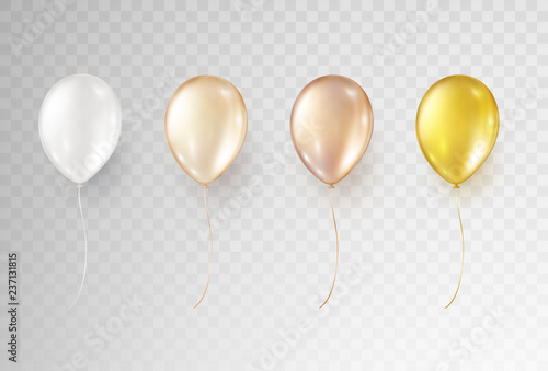 Fototapeta Balloons isolated on transparent background. Vector realistic helium golden rose, glossy gold and white  set of birthday baloons. obraz