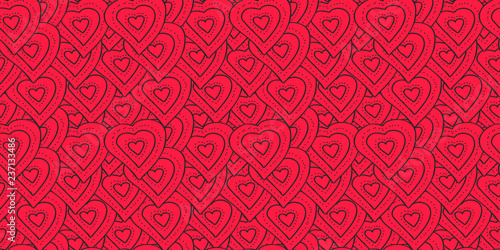 Vector seamless pattern bright red hearts in black outlines Canvas Print