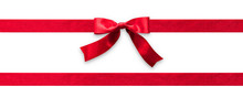 Red Ribbon Band Stripe Or Satin Fabric Bow Isolated On White Background With Clipping Path For Banner Design, Greeting Card And Christmas Gift Decoration