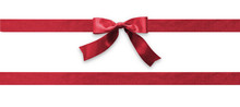 Burgundy Bow Ribbon Band Satin Red Stripe Fabric (isolated On White Background With Clipping Path) For Christmas Holiday Gift Box, Greeting Card Banner, Present Wrap Design Decoration Ornament