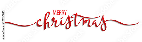 Cuadros en Lienzo MERRY CHRISTMAS 3D brush calligraphy banner