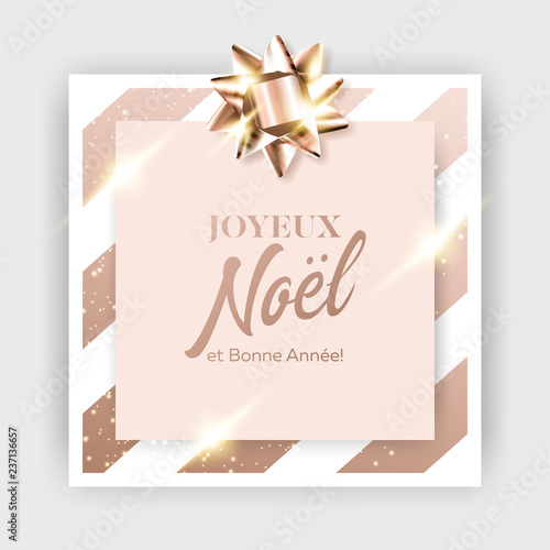 352ee512738d Joyeux Noel et Bonne Annee Vector Background. Merry Christmas and Happy New  Year in French. Xmas 2019 Card Template. Strict