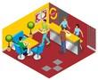 Isometric Fast Food Restaurant Concept