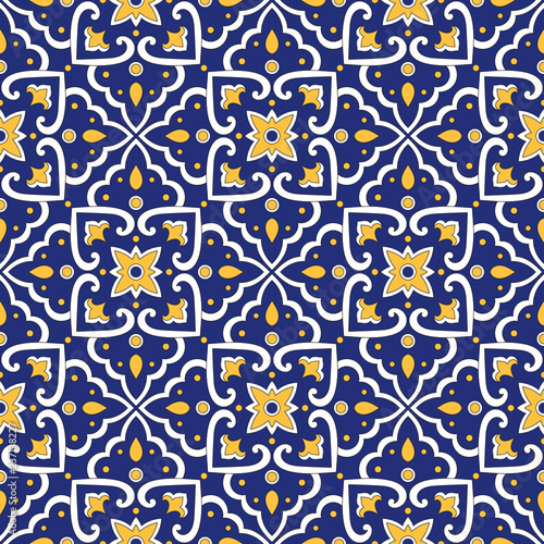 Italian Tile Pattern Vector Seamless With Vintage Blue