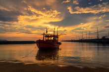 Silhouette Fishing Boat Parking On Beach At Sunset Time Sky Backgroun