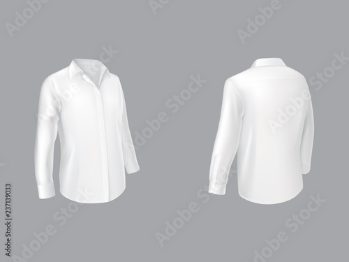 White shirt with long sleeves half turn front and back view realistic vector isolated on grey background Wallpaper Mural