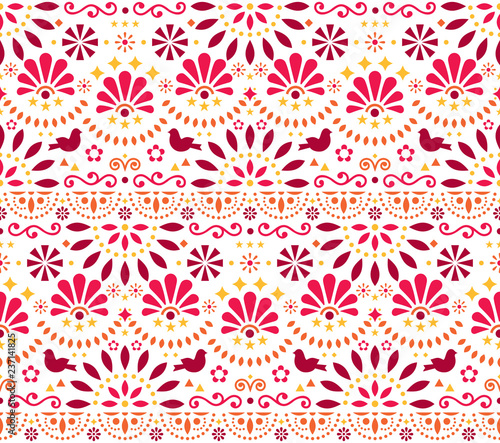 Stampa su Tela Mexican traditional folk art vector seamless geometric pattern with flowers and