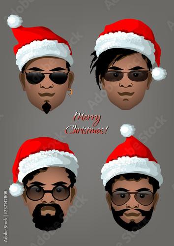 de1424e22 Set of black men's faces with Christmas Santa hats and different ...