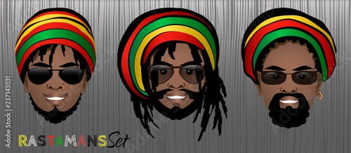 Set of smiling faces of bearded black rastaman men with dreadlocks,rasta hats and sunglasses Canvas Print
