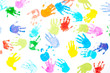 canvas print picture - Multicolored kids handprints on white background