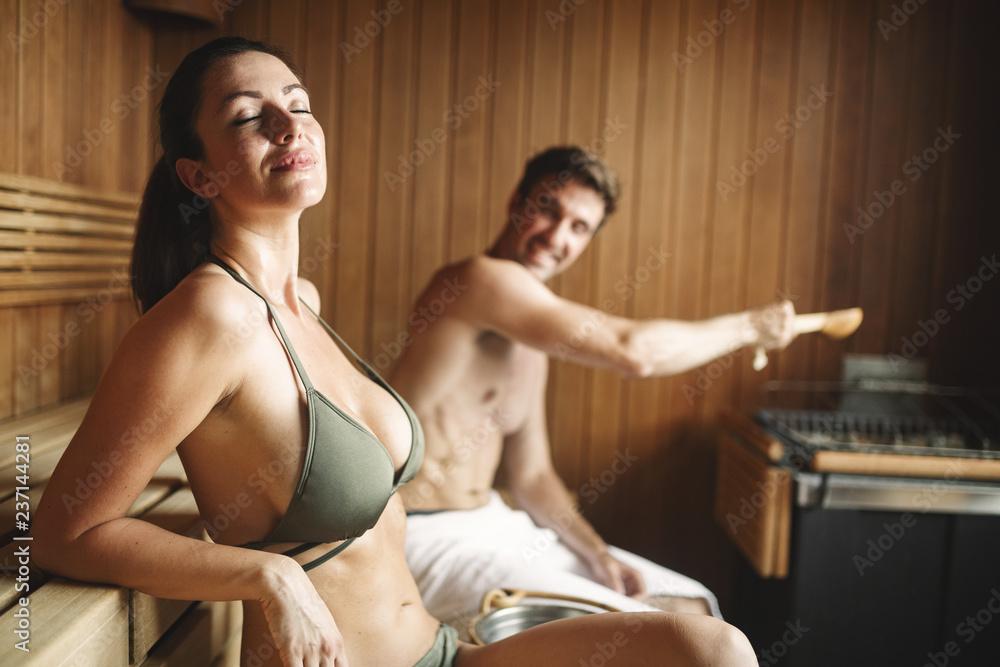 Fototapeta People enjoying sauna health benefits and relax