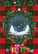 Christmas Winter Holiday Card Rustic Pine Cone, Berries, Christmas Fir Tree Wreath & Garland, Santa Gifts Symbols Decoration Plaid Scotland Ornamental Background, Checkered Red, Green Pattern Template