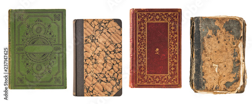 four vintage old books book cover isolated on white background