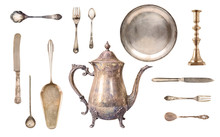 A Set Of Antique Fine Tableware. Kettle, Spoons, Forks, Knives, Plate, Spatula For Cake. Isolated On White Background...