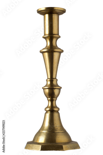 gilded silver retro candlestick isolated on white background Wallpaper Mural