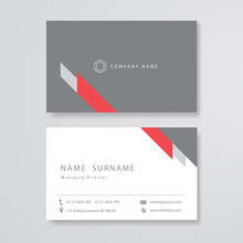 White And Gray Design Business Card Flat Template Vector
