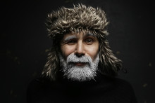 Santa Claus Hipster / Portrait Of A Fashionable Modern Santa, Young Man With A Gray Beard, Christmas Winter Portrait