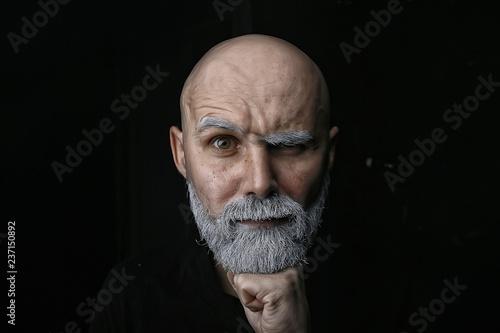 Obraz na plátně brutal bald bearded man / studio isolate, photo guy with a gray beard, bald head