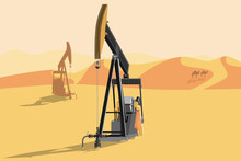 Oil Rigs In The Desert. Vector...