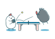 ゆるいにわとりとカラスの卓球