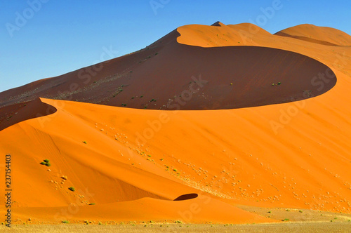 Fotografie, Obraz  Sharp border of light and shadow over the crest of the dune at sunrise at Sossusvlei Namib Desert, Namib Naukluft National Park of Namibia