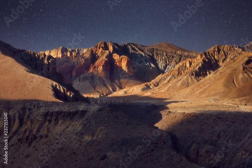 Foto op Aluminium Nachtblauw Beautiful evening mountain landscape in the Upper Mustang, Nepal