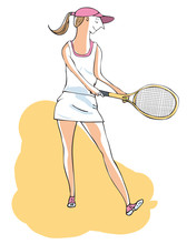 Female Tennis Player About To ...