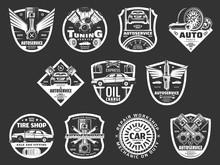 Auto Service Or Car Repair Monochrome Icons Vector