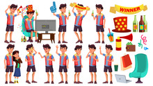 Asian Teen Boy Poses Set Vector. Leisure, Smile. Lifesstyle. Watching Sport Match With Beer. For Web, Brochure, Poster Design. Isolated Cartoon Illustration