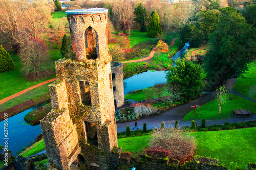 obraz PCV Autumn in Ireland. Aerial view of Blarney Castle tower in Ireland