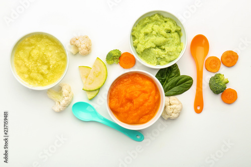 Fototapeta Flat lay composition with healthy baby food on white background obraz
