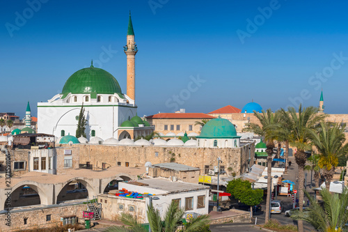 Street scene and the Al Jazzar Mosque in the old city of Akko (Acre), Israel.