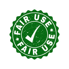 Vector Fair Use Grunge Stamp Seal With Tick Inside. Green Fair Use Watermark With Grunge Surface. Round Rubber Stamp Imprint.