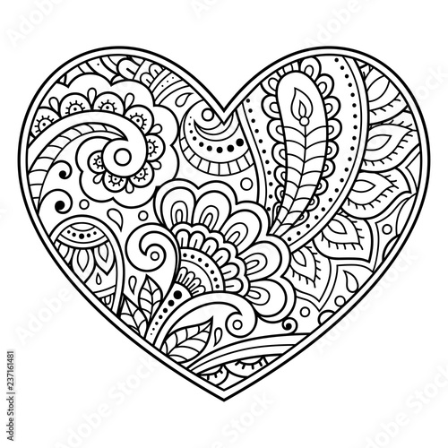 Mehndi flower pattern in form of heart for Henna drawing and ...