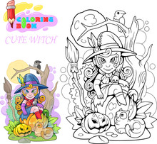 Cartoon Cute Witch Sitting On A Pumpkin, Coloring Book, Funny Illustration