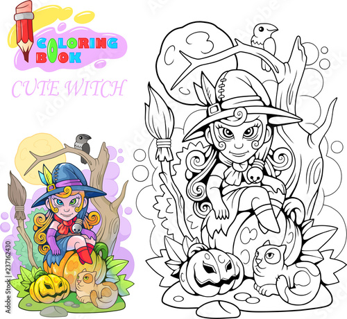 cartoon cute witch sitting on a pumpkin, coloring book, funny illustration Canvas Print