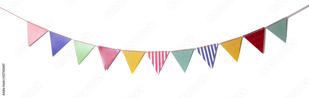 Fototapety, obrazy: Paper party flags for decoration and covering on white background.
