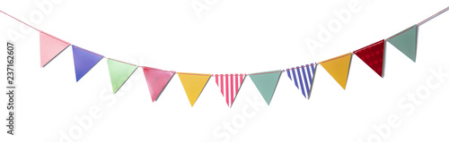 Photo  Paper party flags for decoration and covering on white background