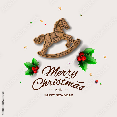 Minimalist style Christmas greeting card with wooden rocking horse, vector illustration Canvas-taulu