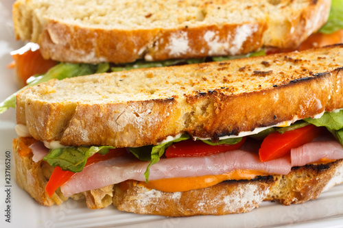 Papiers peints Snack Handmade bread. Detail of sandwiches on plate.
