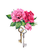 Red, Pink Roses With Two Keys. Watercolor Illustration