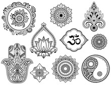 Big Set Of Mehndi Flower Pattern, Lotus, Mandala, Mantra OM, Yin-yang Symbol And Hamsa For Henna Drawing And Tattoo. Decoration In Ethnic Oriental, Indian Style.