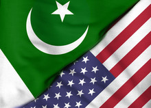 Two Flags. Flag Of The United States. Flag Of Pakistan.