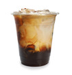 Plastic cup of cold coffee on white background