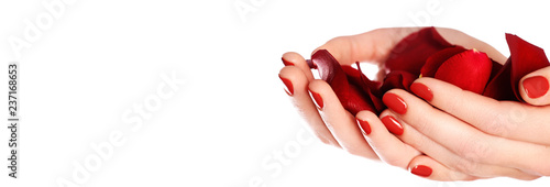 Fotografie, Obraz Beautiful female finger nails with red nail closeup on petals