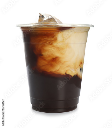 Photo Plastic cup of cold coffee on white background